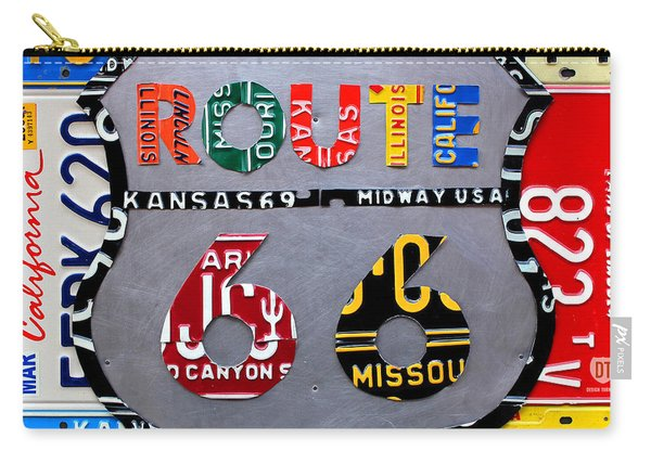 Route 66 Highway Road Sign License Plate Art Carry-all Pouch