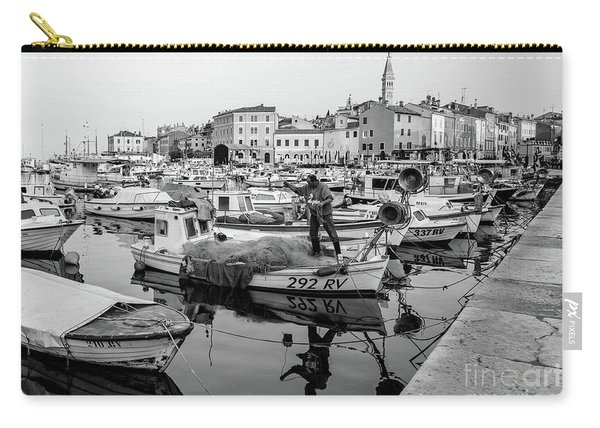 Rovinj Fisherman Working In Old Town Harbor - Rovinj, Istria, Croatia Carry-all Pouch