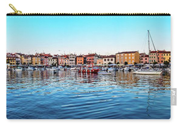 Rovinj Harbor And Boats Panorama Carry-all Pouch