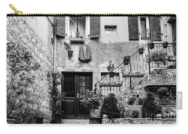 Rovinj Old Town Courtyard In Black And White, Rovinj Croatia Carry-all Pouch