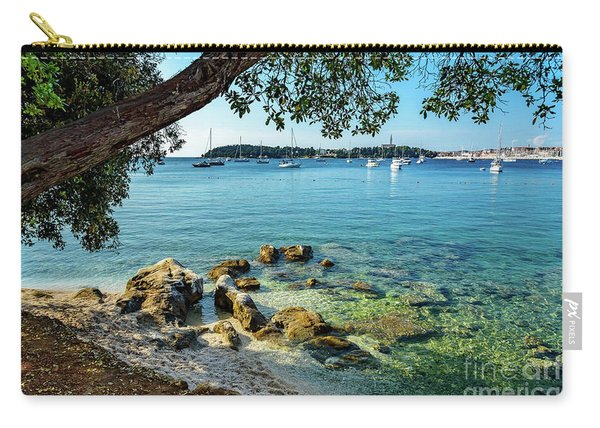 Rovinj Old Town, Harbor And Sailboats Accross The Adriatic Through The Trees Carry-all Pouch