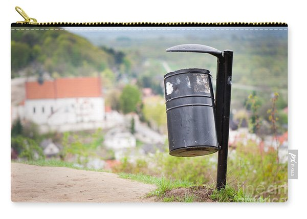 Rubbish Bin On The Hill And Blurred Dale View  Carry-all Pouch