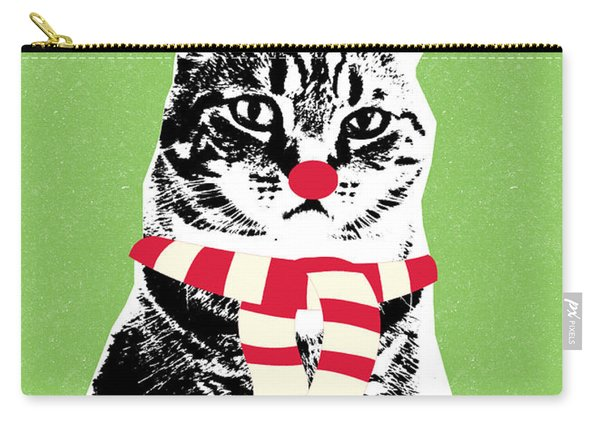 Rudolph The Red Nosed Cat- Art By Linda Woods Carry-all Pouch