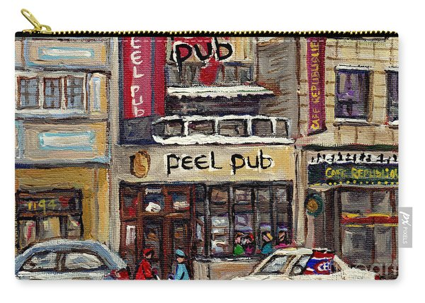 Rue Peel Montreal Winter Street Scene Paintings Peel Pub Cafe Republique Hockey Scenes Canadian Art Carry-all Pouch
