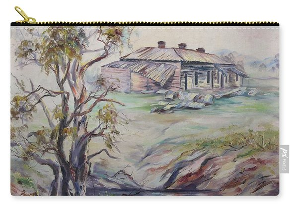 Carry-all Pouch featuring the painting  Ruins Of Squatter's Arms Inn, Cookardinia. 2 Of Pair. by Ryn Shell