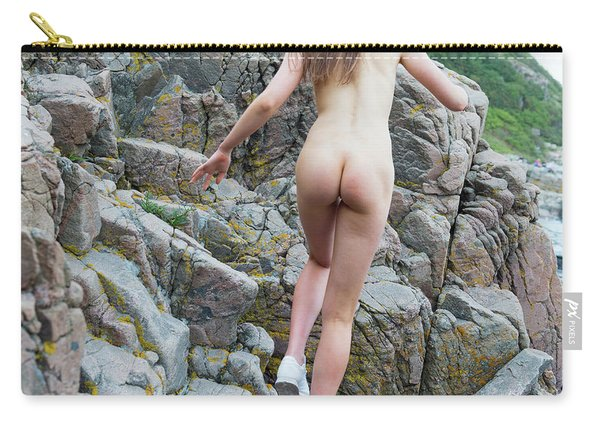 Running Nude Girl On Rocks Carry-all Pouch