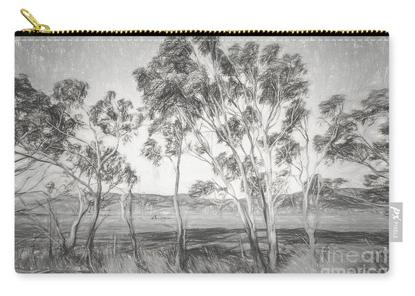 Rural Landscape Pencil Sketch Carry-all Pouch