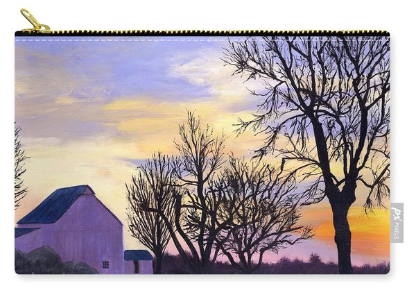 Rural Winter Sunset Carry-all Pouch