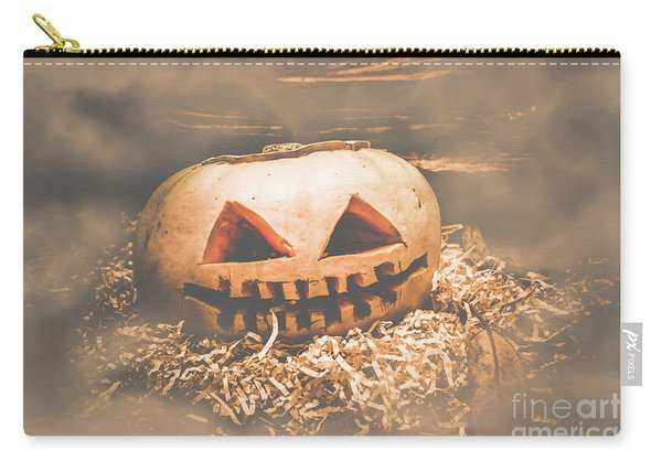 Rustic Barn Pumpkin Head In Horror Fog Carry-all Pouch