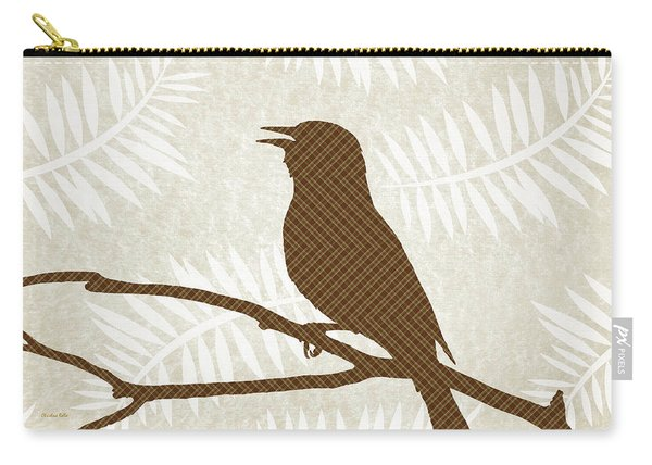 Rustic Brown Bird Silhouette Carry-all Pouch