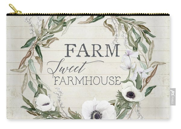 Rustic Farm Sweet Farmhouse Shiplap Wood Boho Eucalyptus Wreath N Anemone Floral 2 Carry-all Pouch