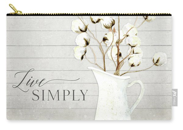 Rustic Farmhouse Cotton Boll Milk Pitcher Live Simply Carry-all Pouch