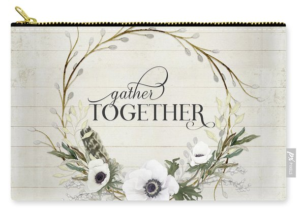 Rustic Farmhouse Gather Together Shiplap Wood Boho Feathers N Anemone Floral 2 Carry-all Pouch