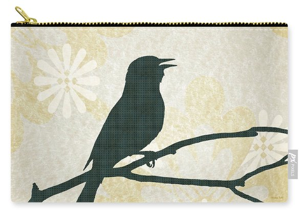 Rustic Green Bird Silhouette Carry-all Pouch