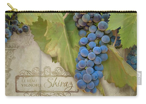 Rustic Vineyard - Shiraz Wine Grapes Over Stone Carry-all Pouch