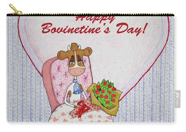 Ruthie-moo Flowers Happy Bovinetine's Day Carry-all Pouch
