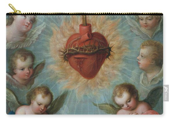 Sacred Heart Of Jesus Surrounded By Angels Carry-all Pouch