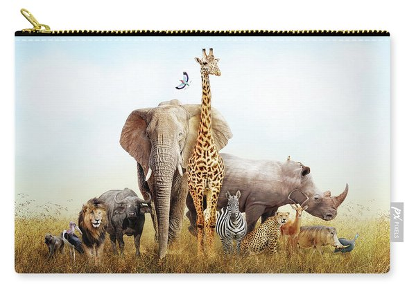 Safari Animals In Africa Composite Carry-all Pouch