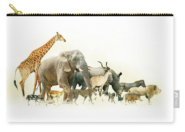Safari Animals Walking Side Horizontal Banner Carry-all Pouch