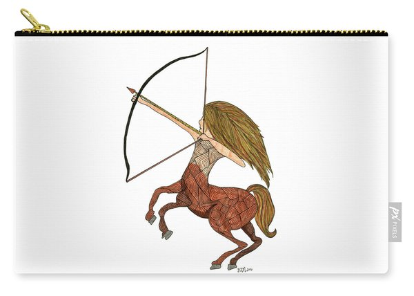 Carry-all Pouch featuring the drawing Sagittarius by Barbara McConoughey