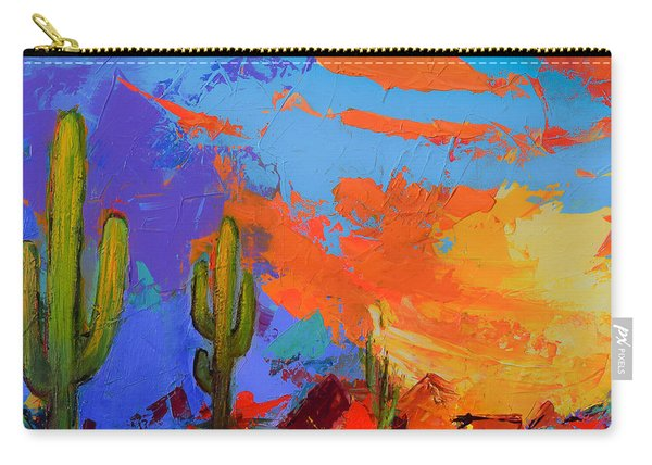 Saguaros Land Sunset By Elise Palmigiani - Square Version Carry-all Pouch