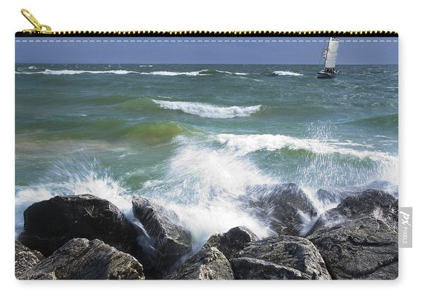 Sailboat Sailing Off The Shore At Ottawa Beach State Park Carry-all Pouch