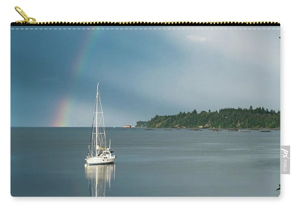 Carry-all Pouch featuring the photograph Sailboat Under The Rainbow by Mary Lee Dereske