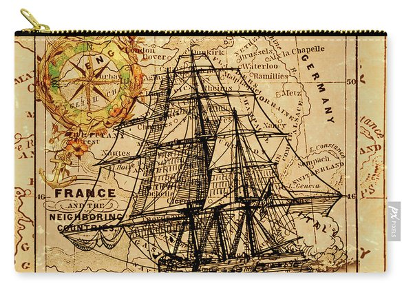 Sailing Ship Map Carry-all Pouch