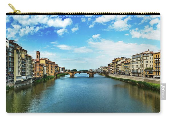 Panoramic View Of Saint Trinity Bridge From Ponte Vecchio In Florence, Italy Carry-all Pouch