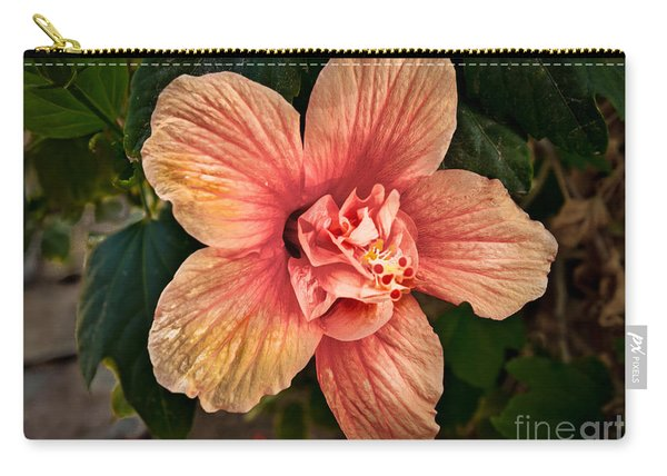 Salmon Color Hibiscus Carry-all Pouch