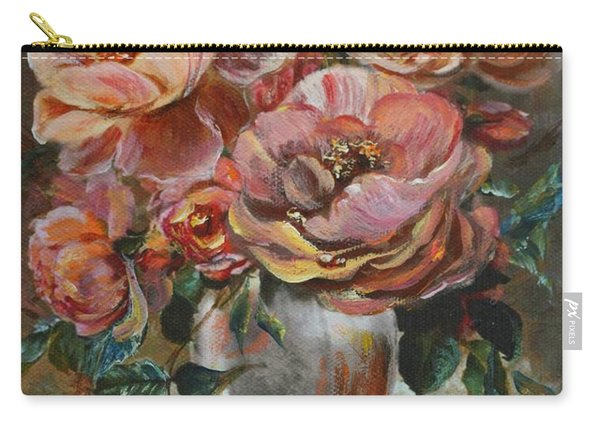 Carry-all Pouch featuring the painting Salmon Rose by Ryn Shell