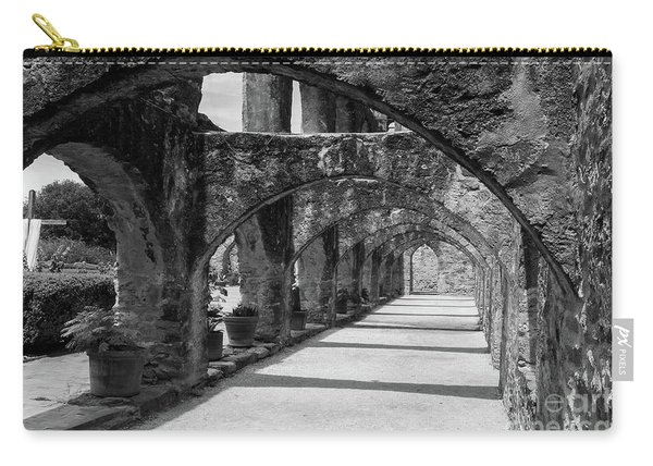 San Antonio Mission Arches In Black And White Carry-all Pouch