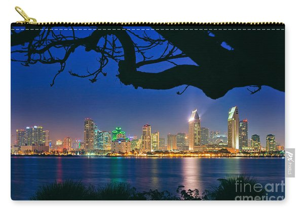 Carry-all Pouch featuring the photograph San Diego Skyline From Bay View Park In Coronado by Sam Antonio