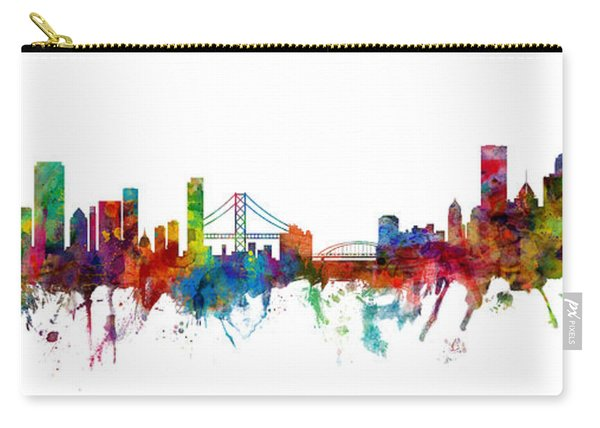 San Francisco And Pittsburgh Skylines Mashup Carry-all Pouch