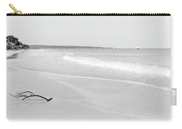 Sand Meets The Sea In Black And White Carry-all Pouch