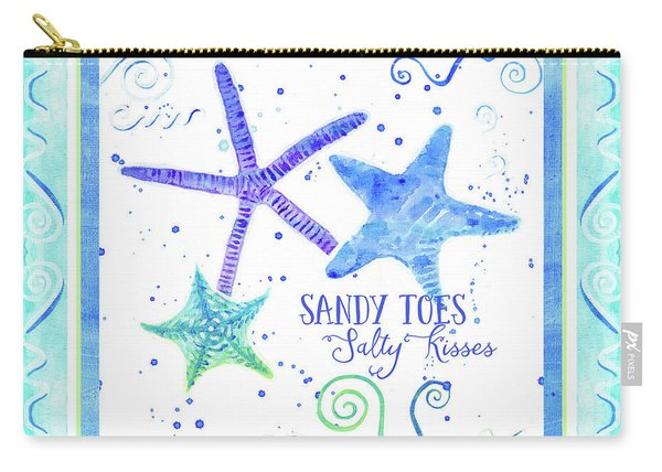 Sand 'n Sea Starfish Scrollwork Sandy Toes Salty Kisses Carry-all Pouch