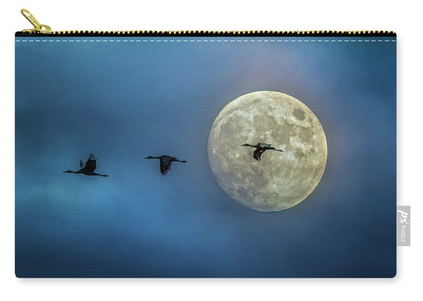 Sandhill Cranes With Full Moon Carry-all Pouch