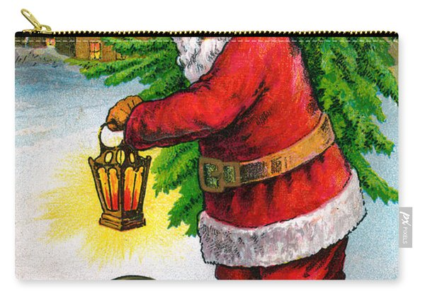 Santa Carrying A Christmas Tree Carry-all Pouch