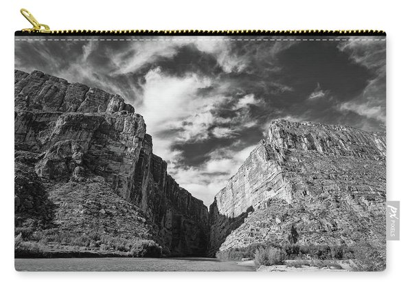 Santa Elena Canyon Black And White Carry-all Pouch