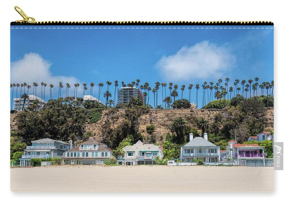 Carry-all Pouch featuring the photograph Santa Monica Beach Front by Michael Hope
