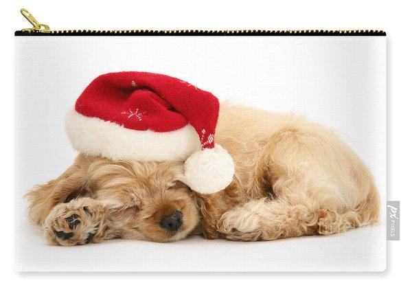 Santa's Sleepy Spaniel Carry-all Pouch
