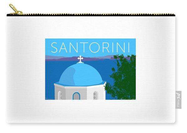 Carry-all Pouch featuring the digital art Santorini Dome - Blue by Sam Brennan