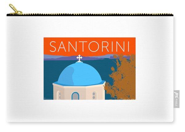 Carry-all Pouch featuring the digital art Santorini Dome - Orange by Sam Brennan