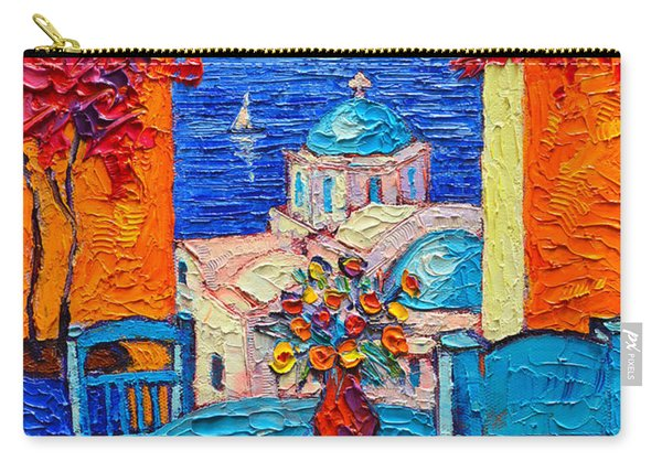 Santorini Dream Greece Contemporary Impressionist Palette Knife Oil Painting By Ana Maria Edulescu Carry-all Pouch