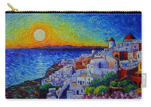 Santorini Oia Sunset Modern Impressionist Impasto Palette Knife Oil Painting By Ana Maria Edulescu Carry-all Pouch