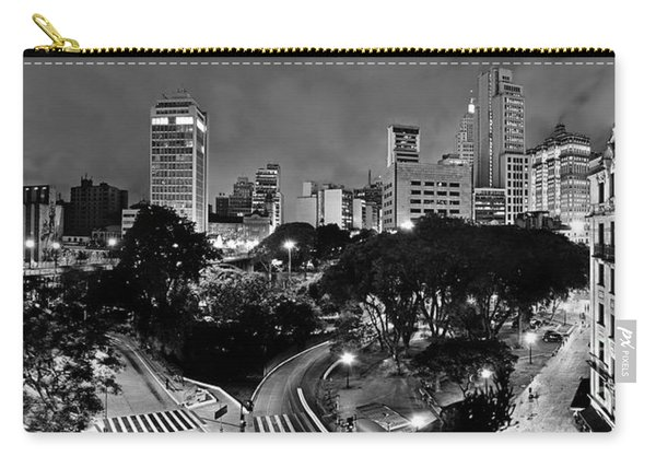 Sao Paulo Downtown At Night In Black And White - Correio Square Carry-all Pouch