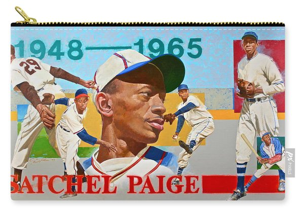 Carry-all Pouch featuring the painting Satchel Paige by Cliff Spohn