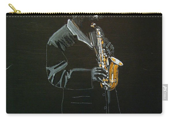 Carry-all Pouch featuring the painting Sax Player by Richard Le Page