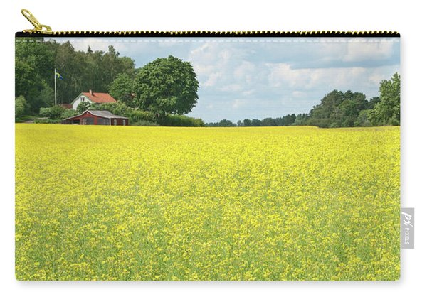 Scandinavian Summer Landscape With Yellow Meadow Carry-all Pouch