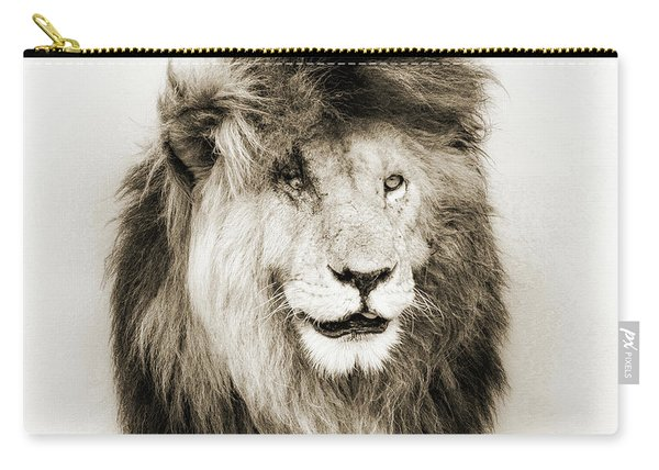 Scar Lion Closeup Square Sepia Carry-all Pouch